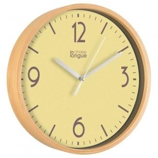Horloge murale bois jaune for Horloge murale design bois