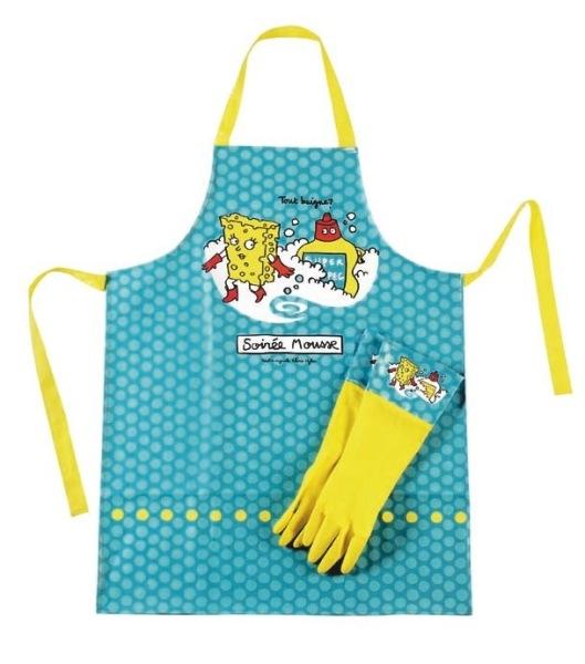 Set tablier 2 gants soir e mousse - Porte eponge et produit vaisselle ...