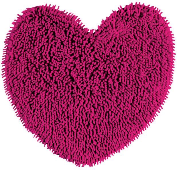 Tapis bain cœur rose derrière la porte, deco salle de bain tapis ...