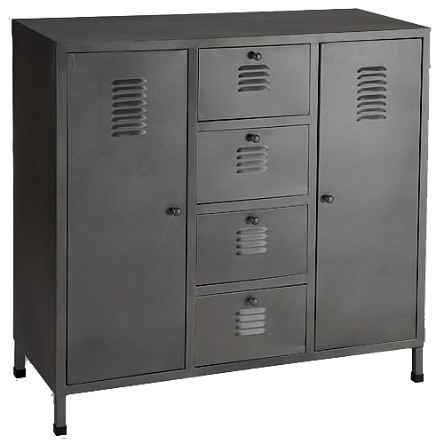commode zinc style industriel. Black Bedroom Furniture Sets. Home Design Ideas