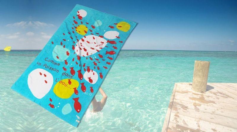 Serviette plage poisson dans eau - Serviette de plage splash ...