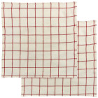 Lot de 2 serviettes de table Karma carreaux écru/rouge de Winkler