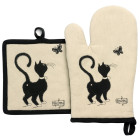 Lot gant/manique Dubout Chat papillon de Winkler